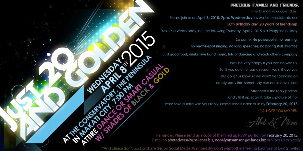 Just 20 and Golden Invitation