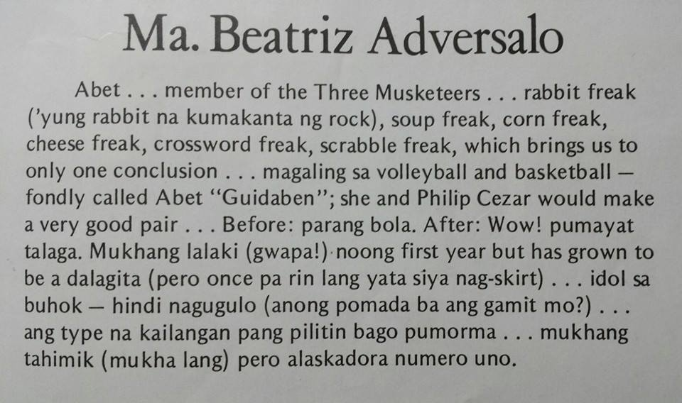 Abet's Pisay Yearbook Entry